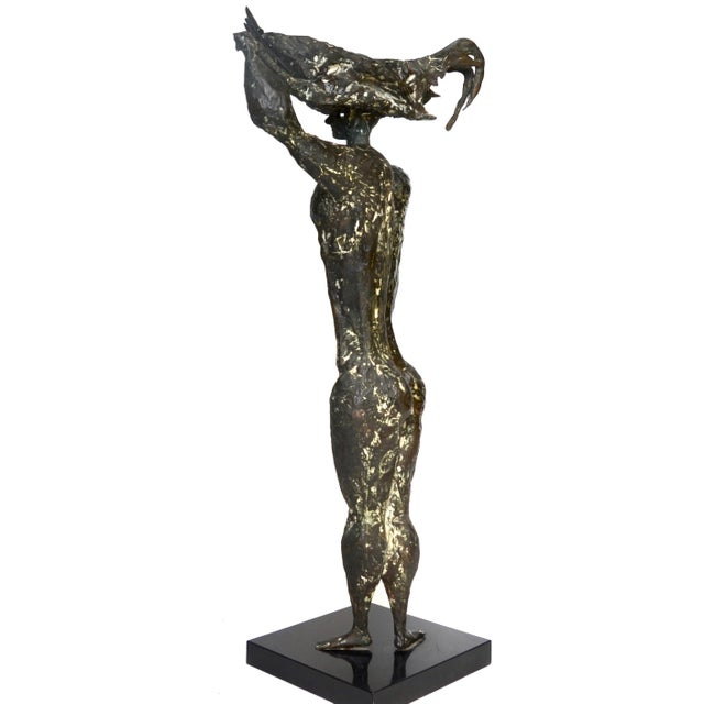 Metal Luciano Minguzzi Bronze 'Uomo Con Gallo' 1950s For Sale - Image 7 of 10