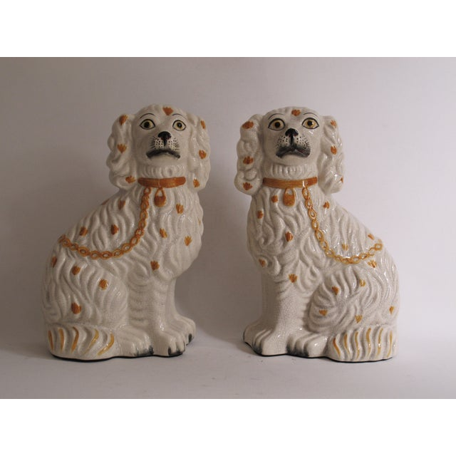 White Staffordshire Dog Figurines - A Pair For Sale - Image 8 of 9