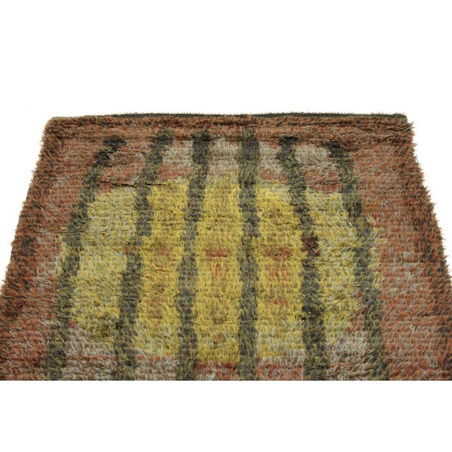 Graphic Finnish Rya Rug For Sale - Image 4 of 11