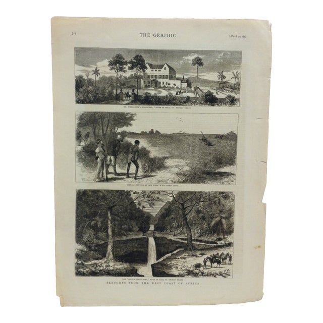 "1878 Antique ""Sketches From the West Coast of Africa"" The Graphic News Print For Sale"