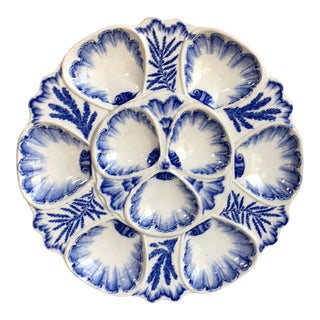19th Century Blue and White Oyster Plate Vieillard Bordeaux For Sale