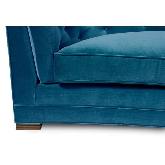 Mid-Century Modern Grace Home Collection Teal Blue Velvet Liza Sofa For Sale - Image 3 of 4
