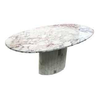 1960s Hollywood Regency Roche-Bobois White and Gray Matalic Italian Marble Dining Table For Sale