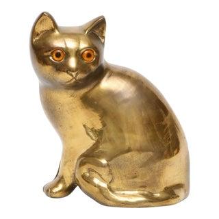 Mid Century Brass Cat Sculpture