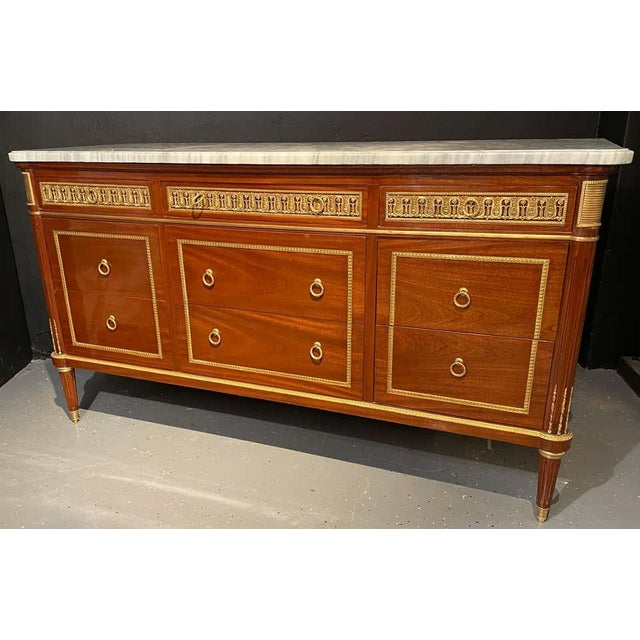 French Pair of Monumental French Commodes in the Manner of Maison Jansen For Sale - Image 3 of 13