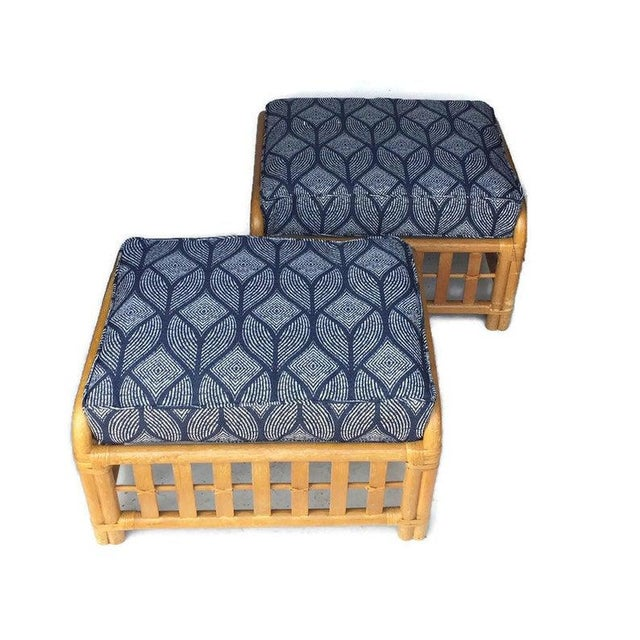 1970s Vintage Oversized Bamboo Ottomans Low Stools - a Pair For Sale - Image 13 of 13