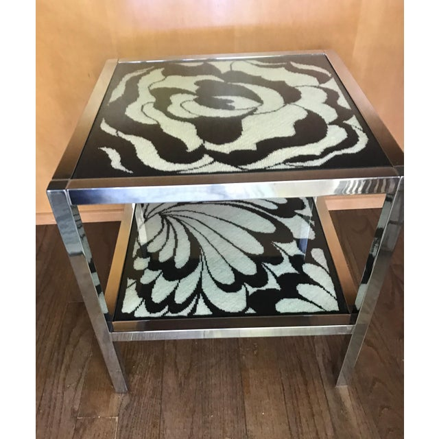 Mastercraft Chrome and Custom Pucci Style Needlepoint 1960's Side Table - Image 7 of 9