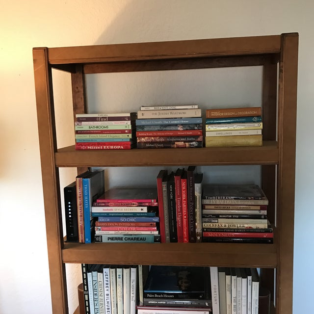 Contemporary Custom Made Tall Parsons Style Rectangular Bookcase For Sale - Image 3 of 10