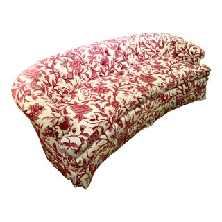 Vintage Red & White Crewel Tufted Couch