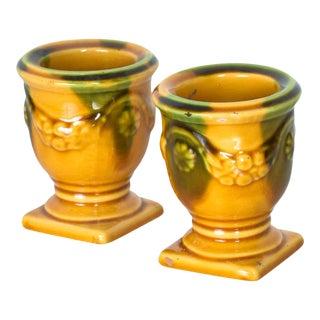 French Candle Holders Ceramic Point a La Ligne Paris France 1960s - a Pair For Sale