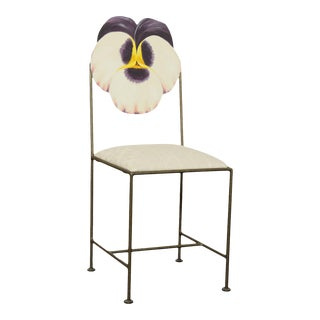Wrought Iron Hand Painted Flower Back Side Chair For Sale