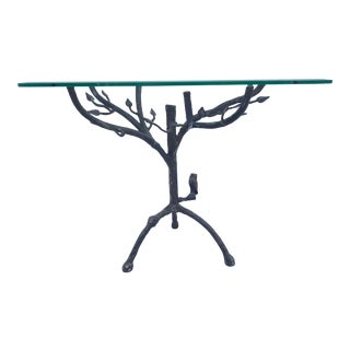 Vintage Figurative Giacometti Style Metal Faux Bois and Glass Side Table For Sale