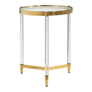 Regency Round Brass/Gold Side Table With Plexi Legs For Sale