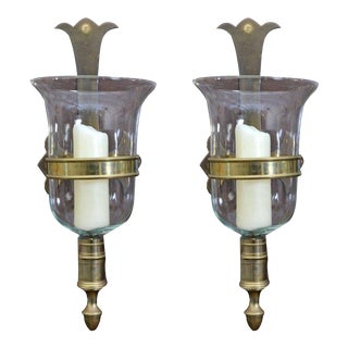 Sarreid Bronze and Glass Hurricane Lamps - a Pair For Sale