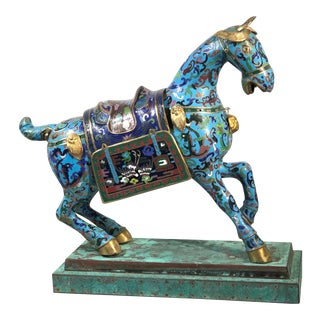 Early 20th Century Vintage Cloisonne Horse/Stand For Sale