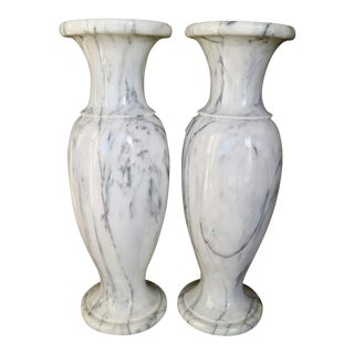 Vintage Marble Vases - A Pair For Sale