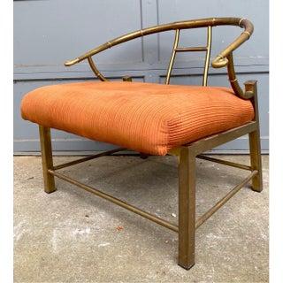 "Mid Century Brass Mastercraft Horseshoe ""emperess"" Lounge Chair Preview"
