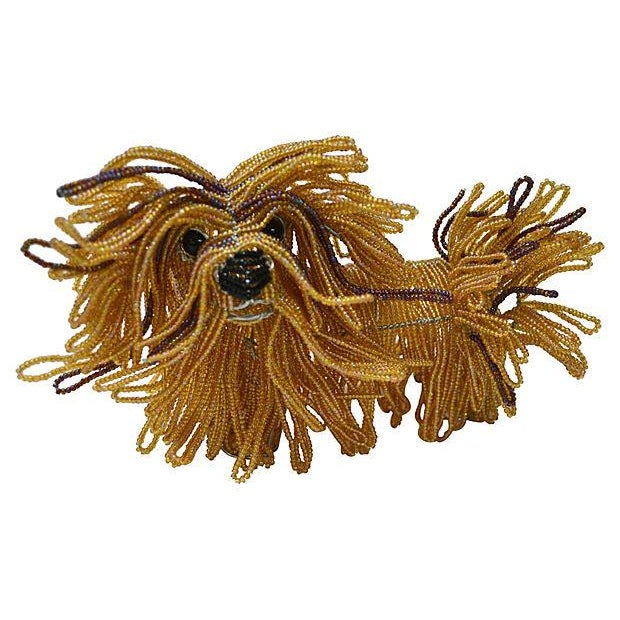 Glass Beaded Lhasa Apso Dog Sculpture - Image 3 of 4