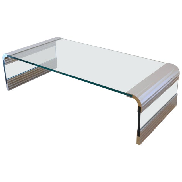Large Chrome & Glass Leon Rosen Pace Collection Waterfall Cocktail Table 1970's For Sale - Image 11 of 11