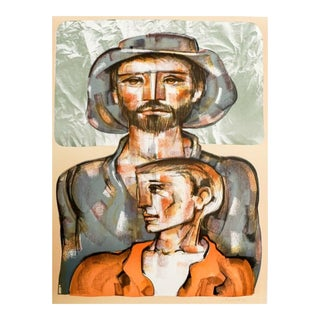 1981 Jorge Dumas Today and Tomorrow Figural Lithograph For Sale