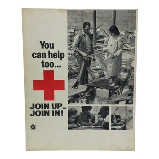 "1950 Vintage ""You Can Help Too ... Join Up - Join In"" Red Cross Sign For Sale"