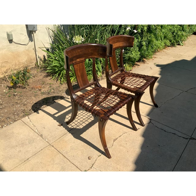 Klismos Walnut Chairs - a Pair For Sale - Image 9 of 10