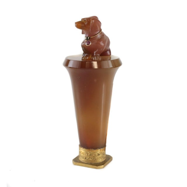 1900 Antique Carved Agate Dachshund Dog Diamond Ruby Wax Seal - Image 3 of 5