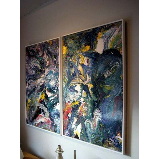 1970s A Pair of Abstract Compositions by California Artist Richard Mann For Sale - Image 5 of 7