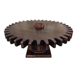 Vintage Rotating Circular Oak Coffee Table For Sale