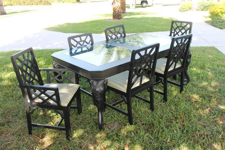 chippendale dining chairs. Wood Fretwork Chinese Chippendale Dining Chairs - Set Of 6 For Sale Image 7 E