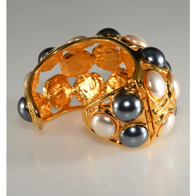 Modern Kenneth Jay Lane Cuff Bracelet Faux Pearls For Sale - Image 3 of 6