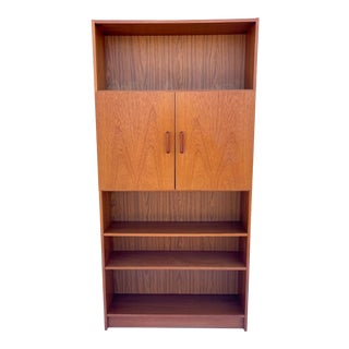 Tall Danish Modern Teak Bookcase With Cabinet For Sale