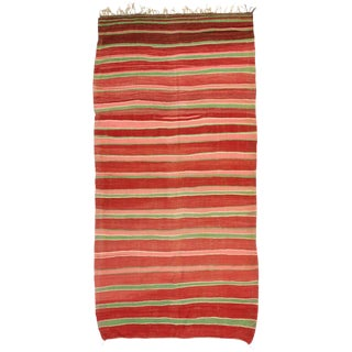 Vintage Berber Moroccan Kilim Rug with Stripes and Boho Chic Style For Sale