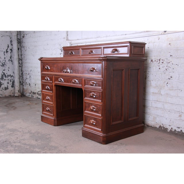 Antique Victorian Carved Flame Mahogany Chicago Railroad Desk, Circa 1850 For Sale - Image 13 of 13