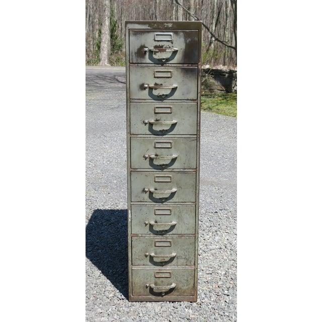 Vintage Industrial Metal File Cabinet For Sale - Image 11 of 11