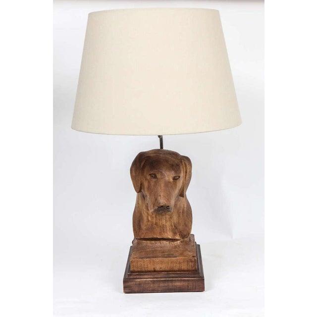 JW Custom Line Carved Dog Lamp For Sale - Image 4 of 7