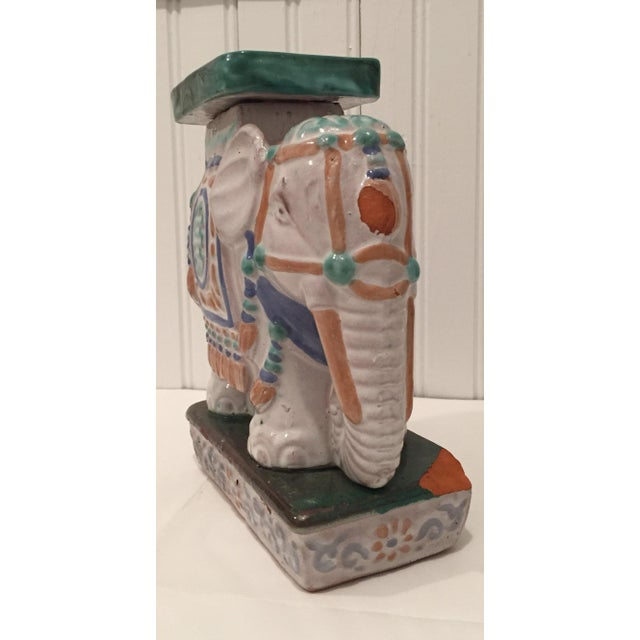 Vintage Painted Terra Cotta Elephant - Image 3 of 7
