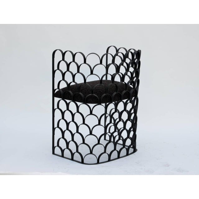 2010s Sculptural Wrought Iron and Astrakhan Wool 'Arcature' Stool by Design Frères For Sale - Image 5 of 9