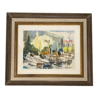 "Robert Freiman ""Boats at Marina"" Original Watercolor C.1970 For Sale"