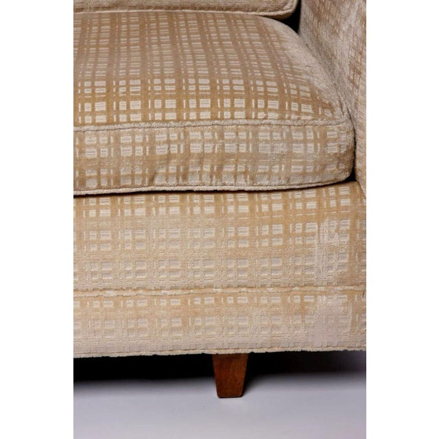 1960s Baker Furniture Walnut & Down-Filled Velvet Sofa. For Sale - Image 5 of 6