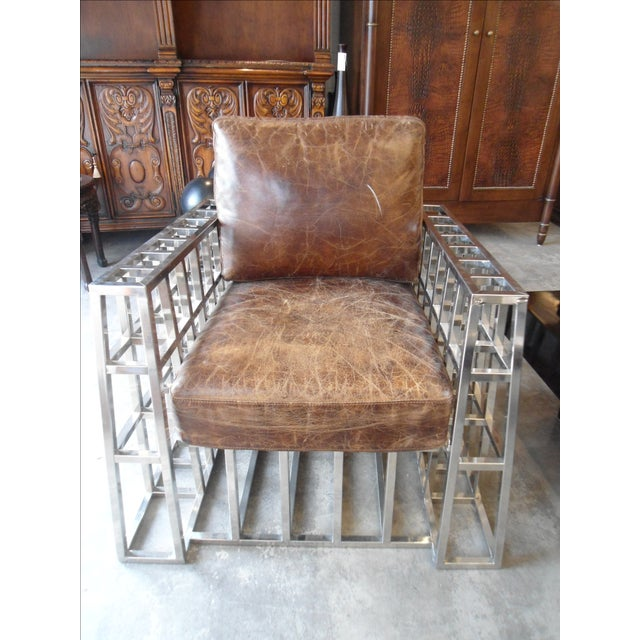 Hd Buttercup Distressed Leather and Chrome Arm Chair - Image 2 of 5