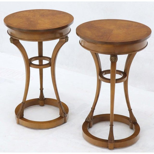 Pair of Tall Round Pedestal Shape Side End Tables on Tri Legged Bases Burl Wood For Sale - Image 6 of 13