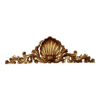 Vintage Florentine Carved Wood Shell Pediment For Sale