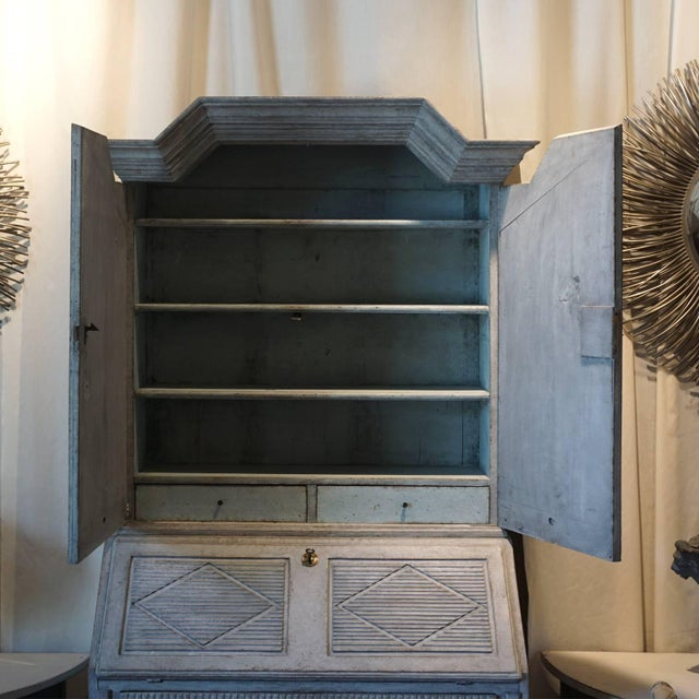 Late 18th Century antique Swedish finely carved two part Gustavian Bureau pinewood with original hardware from...