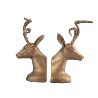 Mid-Century Modern Bronze Ibex Bookends- a Pair For Sale