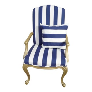 Golden Royal Blue Striped Armchair For Sale
