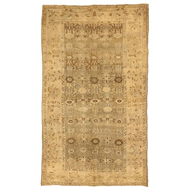 1970s Antique Persian Bijar Rug With Brown & Beige Floral Details- 4′10″ × 8′3″ For Sale - Image 5 of 5