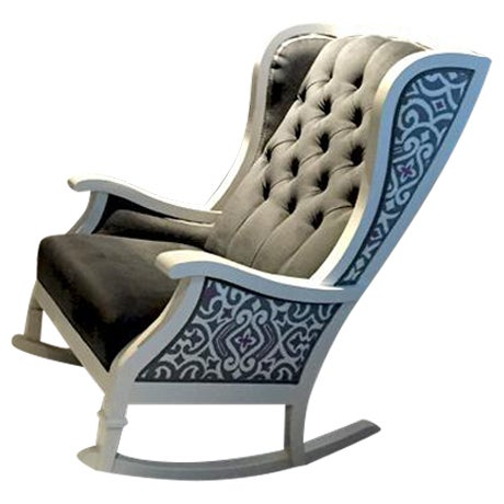 Handmade Wingback White Wooden Rocking Chair - Image 1 of 7