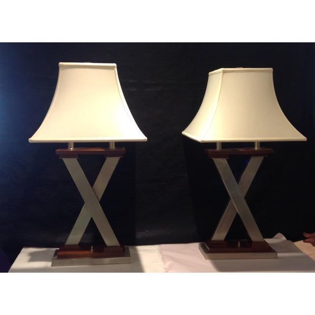 """Mid-Century Modern """"X"""" Table Lamps - a Pair For Sale - Image 4 of 4"""