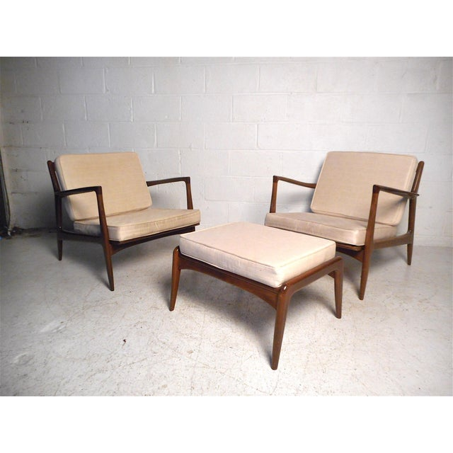 Danish Modern Lounge Chairs and Ottoman by Kofod-Larsen For Sale - Image 13 of 13